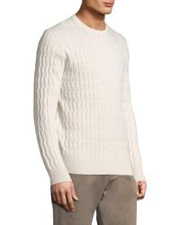 Eleventy - White Cabled Cashmere Crewneck for Men - Lyst