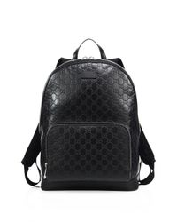 Gucci - Black Signature Embossed Leather Backpack for Men - Lyst