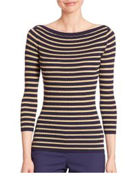 Michael Kors | Metallic Striped Merino Wool Boatneck Sweater | Lyst