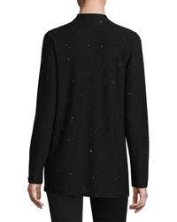 Eileen Fisher | Black Wool Twinkle Open Cardigan | Lyst