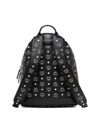 MCM - Black Logo Coated Canvas Backpack - Lyst