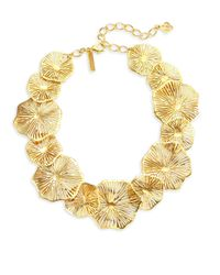 Oscar de la Renta - Metallic Coral Lace Statement Necklace - Lyst