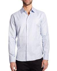 Ferragamo - Blue Tonal Gancini Button-down Shirt for Men - Lyst