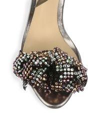 Alexandre Birman - Black Clarita Metallic & Mesh Bow Leather Ankle Strap Sandals - Lyst