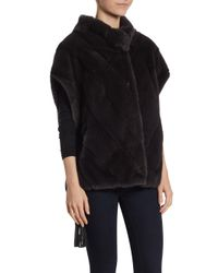 Saks Fifth Avenue - Black Mink Fur Chevron Jacket - Lyst