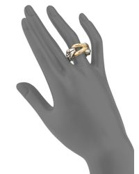 John Hardy - Metallic Bamboo 18k Yellow Gold & Sterling Silver Link Ring - Lyst