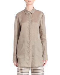 Lafayette 148 New York - Natural Silky Button-up - Lyst