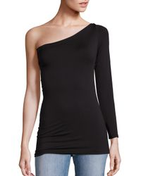 Helmut Lang - Black Long Sleeve One Shoulder Seamless Tee - Lyst