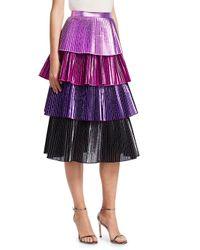 Delfi Collective - Purple Lauren Metallic Tiered Ruffle Skirt - Lyst