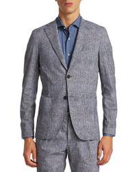 Saks Fifth Avenue Gray Linen Look Pencil Blazer for men
