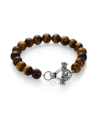 King Baby Studio - Brown Tiger's Eye Beaded Bracelet for Men - Lyst