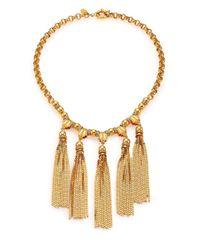 House of Lavande - Metallic Sunset Crystal Tiered Tassel Necklace - Lyst
