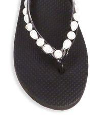 Tory Burch - Black Women's Faux Pearl Embellished Flip-flops - Lyst