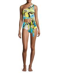Emilio Pucci - Blue Fiore Maya One-shoulder Two-piece Bikini Set - Lyst