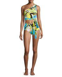 Emilio Pucci | Blue Fiore Maya One-shoulder Two-piece Bikini Set | Lyst