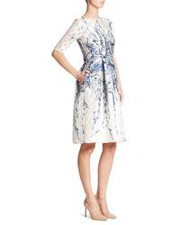 Lela Rose - White Elbow Sleeve Floral Dress - Lyst