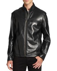Cole Haan - Black Lambskin Leather Moto Jacket for Men - Lyst