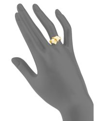 Carelle - Metallic Jumbo Knot Diamond-trim 18k Yellow Gold Ring - Lyst