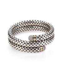 John Hardy - Metallic Dot Diamond, 18k Yellow Gold & Sterling Silver Double Coil Bracelet - Lyst