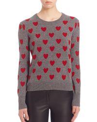Burberry - Gray Heart-intarsia Merino Wool Jumper - Lyst