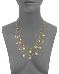 Tory Burch - Metallic Faux-pearl Bud Multi-strand Necklace - Lyst