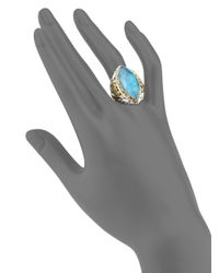 Konstantino - Blue Chrysocolla, Clear Quartz, Sterling Silver & 18k Yellow Gold Marquise Ring - Lyst