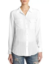 Equipment - White Women's Slim Signature Silk Shirt - Nude - Size Large - Lyst