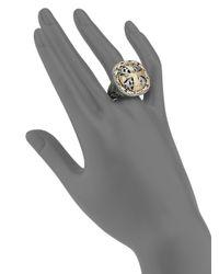Konstantino - Metallic Classics Daphne 18k Yellow Gold & Sterling Silver Filigree Cross Ring - Lyst