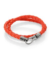 Tod's - Orange Leather Double Wrap Bracelet - Lyst