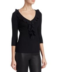 Saks Fifth Avenue - Black Collection Ruffled Trim V-neck Sweater - Lyst