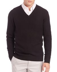 Saks Fifth Avenue - Black Silk-blend Textured Sweater for Men - Lyst