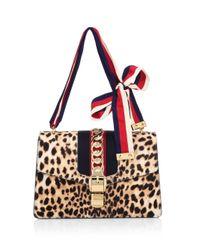 Gucci - Natural Sylvie Leopard-print Calf Hair Shoulder Bag - Lyst