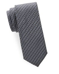 Brioni - Gray Diagonal Houndstooth Woven Silk Tie for Men - Lyst