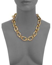 Kenneth Jay Lane - Metallic Polished Link Necklace/goldtone - Lyst