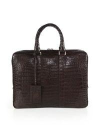 Santiago Gonzalez - Brown Crocodile Slim Briefcase for Men - Lyst