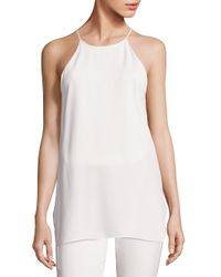 4019b41aa1816 Lyst - Halston Solid Strappy Tank Top in White