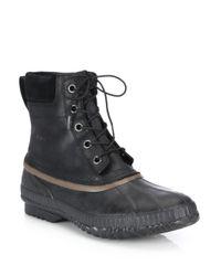 Sorel - Black Cheyanne Grain Leather Boots for Men - Lyst