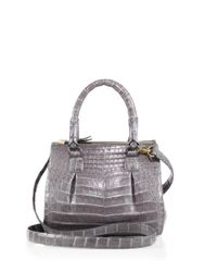 Nancy Gonzalez Gray Women's Crocodile Mini Plissé Crossbody Bag - Black