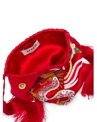 Attico - Red Envers Dragon Satin Pouch - Lyst