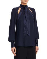 Cinq À Sept - Blue Harper Tie Neck Blouse - Lyst