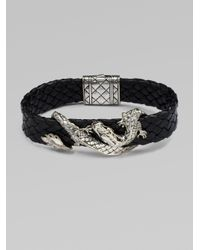 John Hardy - Black Silver Dragon & Leather Bracelet/brown for Men - Lyst