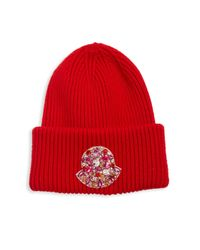 7c031dca0 Lyst - Moncler Embellished Logo Wool Beanie in Red