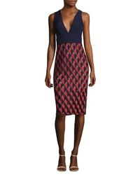 BCBGMAXAZRIA - Red Deep V-neck Sheath Dress - Lyst