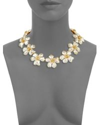 Kenneth Jay Lane - Yellow Crystal & Faux-pearl Flower Necklace - Lyst