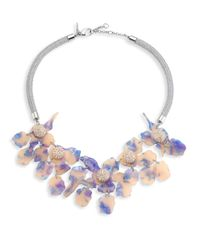 Lele Sadoughi - Blue Crystal Lily Necklace - Lyst