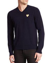 Play Comme des Garçons - Blue Small Emblem V-neck Sweater for Men - Lyst
