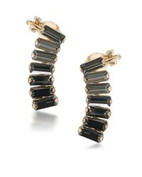ABS By Allen Schwartz - Black Gold-tone Rectangle Crystal Ear Climbers - Lyst
