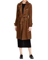 Polo Ralph Lauren - Brown Belted Suede Trench Coat - Lyst