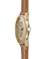 Shinola - Metallic The Gail Pvd Gold & Leather Strap Watch - Lyst