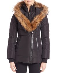 Mackage | Black Adali Fur Trim Hooded Down Jacket | Lyst